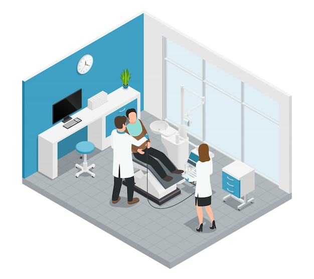 Kolorowy stomatologia stomatologia skład izometryczny