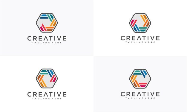 Kolorowy streszczenie logo w sześciokącie