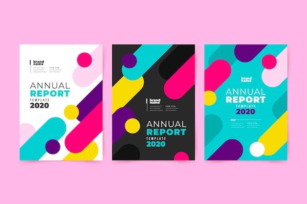 Kolorowy streszczenie roczne sprawozdanie z ładny design