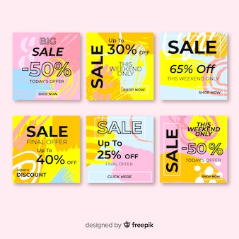 Kolorowy streszczenie sprzedaż instagram post zestaw
