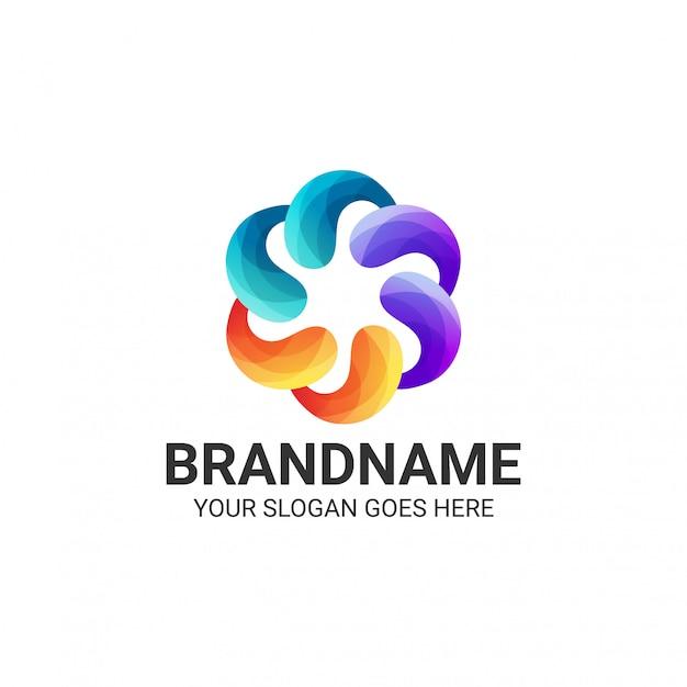 Kolorowy streszczenie szablon logo gradientu