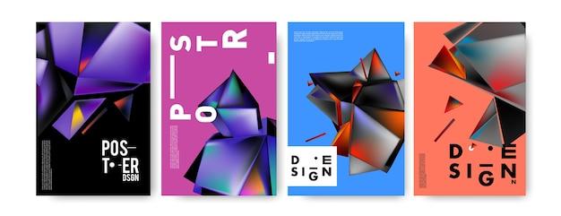 Kolorowy streszczenie trójkąt geometryczne plakat i projekt okładki
