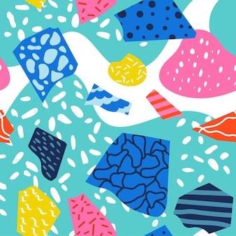 Kolorowy styl mody lat 80-tych lub 90-tych abstrakcyjny wzór bez szwu. ilustracja wektorowa
