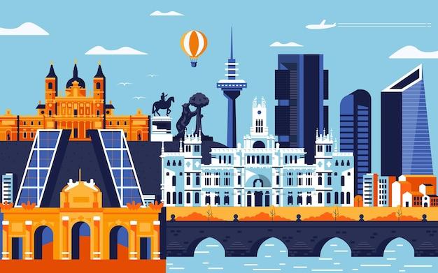 Kolorowy styl płaskich miasta madryt. pejzaż miejski ze wszystkimi słynnymi budynkami. panoramę miasta madryt kompozycji do projektowania. tło podróży i turystyki. ilustracja wektorowa