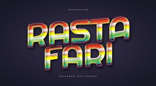 Kolorowy styl tekstu rastafari ze świecącym efektem. edytowalny efekt stylu tekstu