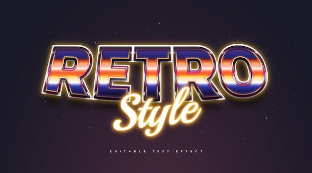 Kolorowy styl tekstu retro z efektem 3d i neon. edytowalny efekt stylu tekstu