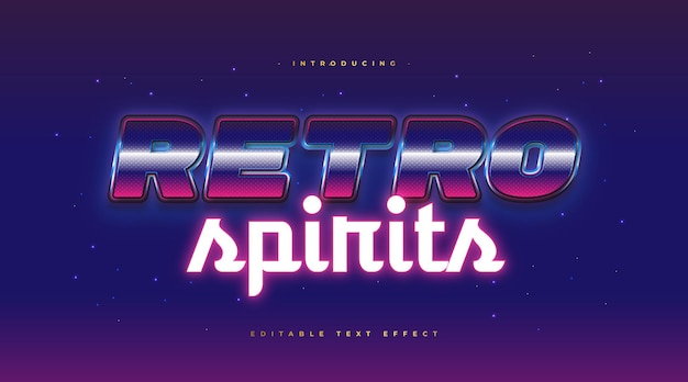 Kolorowy styl tekstu retro z świecącym efektem neonu i brokatu. edytowalny efekt stylu tekstu