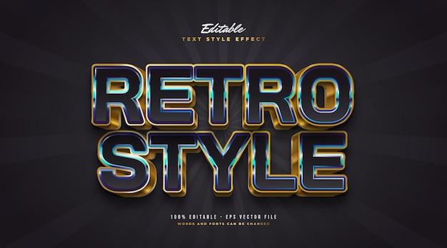Kolorowy styl tekstu retro z wytłoczonym efektem 3d. edytowalny efekt stylu tekstu