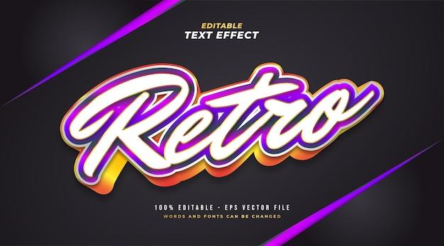Kolorowy styl tekstu retro z wytłoczonym efektem 3d. edytowalny efekt tekstowy