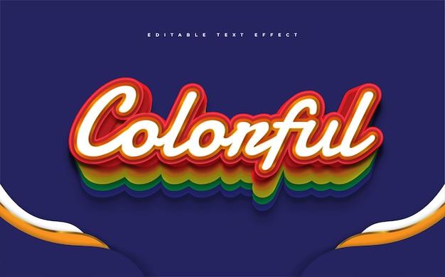 Kolorowy styl tekstu tęczy z wytłoczonym efektem 3d. edytowalny efekt stylu tekstu