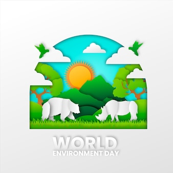 Kolorowy światowy dzień środowiska w stylu papieru