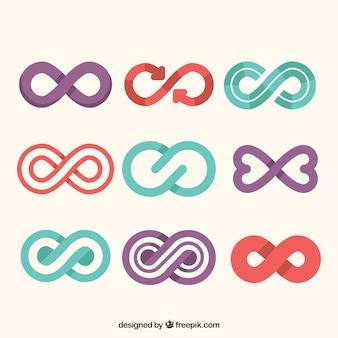 Kolorowy symbol kolekcja nieskończoności