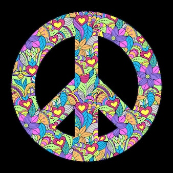 Kolorowy symbol pokoju na czarnym tle