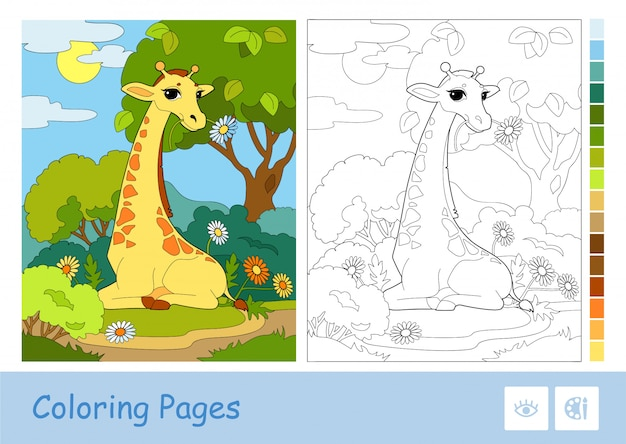 Kolorowy szablon, bezbarwna konturowa ilustracja żyrafy jedzącej kwiat w lesie i zasugerowana paleta po prawej stronie. dzikie zwierzęta i ssaki aktywność rozwojowa dla dzieci.