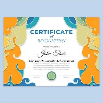 Kolorowy szablon certyfikatu o różnych kształtach