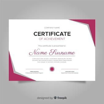 Kolorowy szablon certyfikatu z płaska konstrukcja
