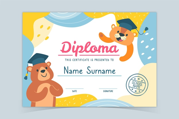 Kolorowy szablon dyplomu dla dzieci z małymi niedźwiedziami