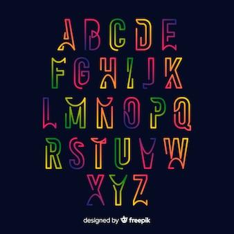 Kolorowy szablon gradientu alfabetu