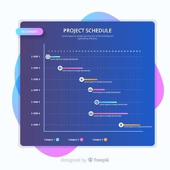 Kolorowy szablon harmonogramu projektu w stylu gradientu