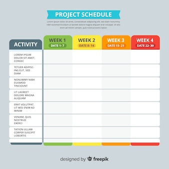 Kolorowy szablon harmonogramu projektu z Płaska konstrukcja