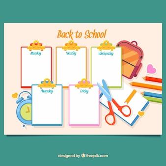 Kolorowy szablon harmonogramu szkolnego