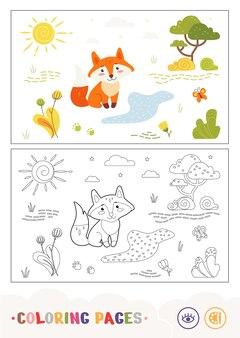 Kolorowy szablon i bezbarwny konturowy obraz lisa siedzącego w pobliżu leśnego strumienia dzikie zwierzęta p