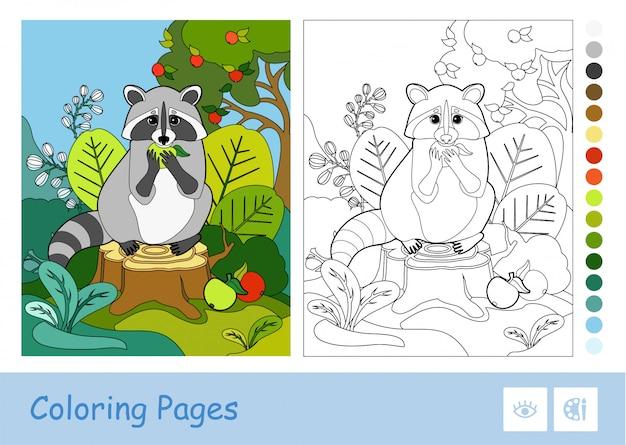 Kolorowy szablon i bezbarwny konturowy szop pracz je jabłka w drewnie. dzieci w wieku przedszkolnym z dzikimi zwierzętami kolorowanki ilustracje do książek i działania rozwojowe.