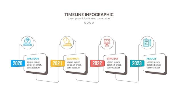 Kolorowy Szablon Infografiki Osi Czasu Darmowych Wektorów