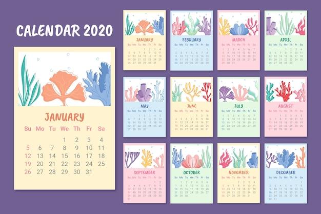 Kolorowy szablon kalendarza na 2020 rok