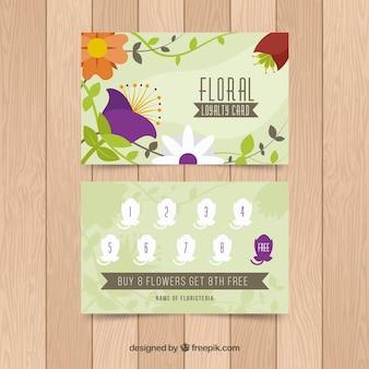 Kolorowy szablon karty lojalnościowej z kwiatowym stylu