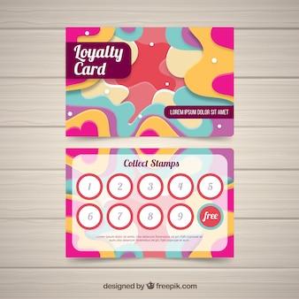 Kolorowy szablon karty lojalnościowej z płaska konstrukcja