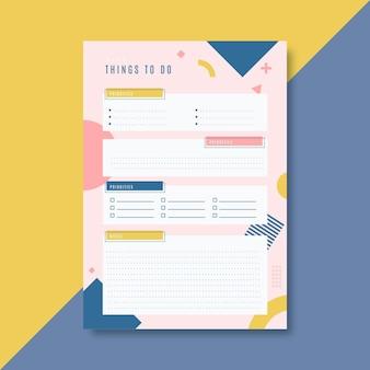 Kolorowy szablon listy rzeczy do zrobienia