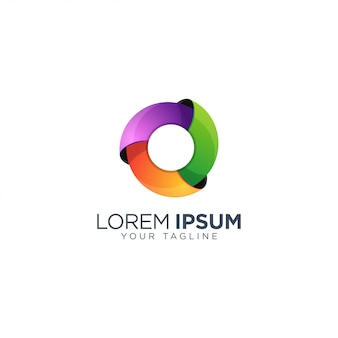 Kolorowy szablon logo 3d koło