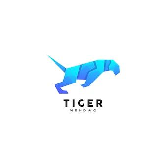 Kolorowy szablon logo ilustracji tygrysa