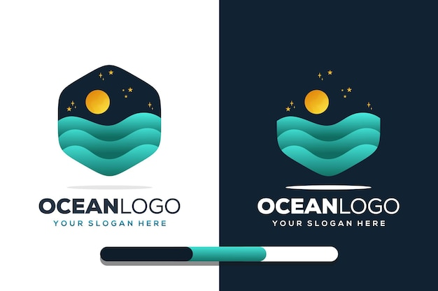 Kolorowy szablon logo oceanu