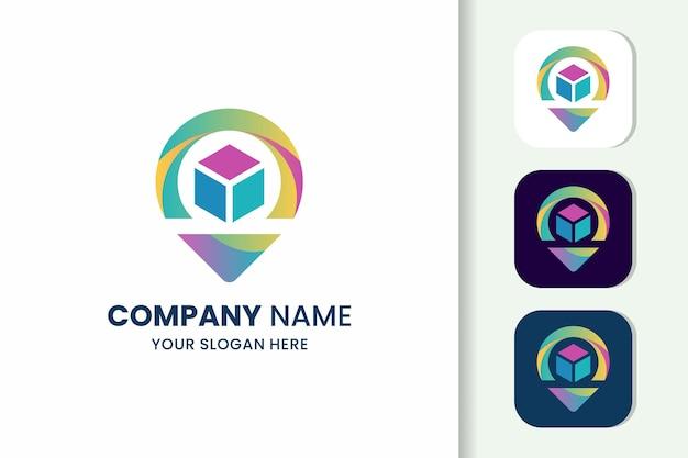 Kolorowy szablon logo pin and box