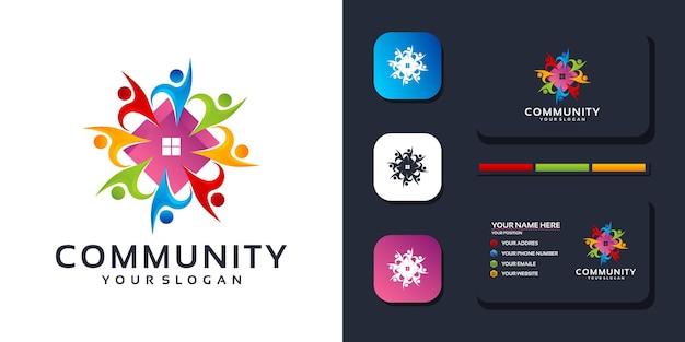 Kolorowy szablon logo społeczności i odniesienie do wizytówek. wektor premium