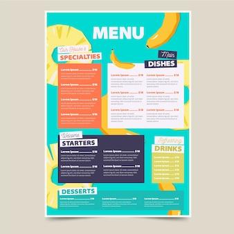 Kolorowy szablon menu restauracji zdrowej żywności