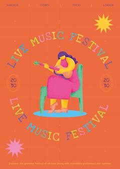 Kolorowy szablon plakatu koncertowego z płaską grafiką gitarzysty