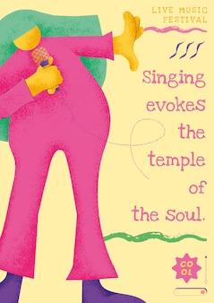 Kolorowy szablon plakatu koncertowego z płaską grafiką piosenkarza muzyka
