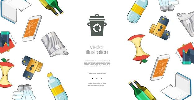 Kolorowy szablon płaski śmieci