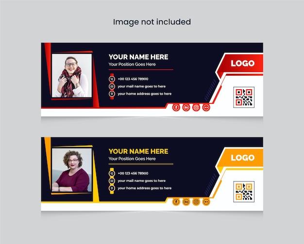 Kolorowy szablon podpisu e-mail lub stopka wiadomości e-mail i osobisty szablon projektu okładki mediów społecznościowych