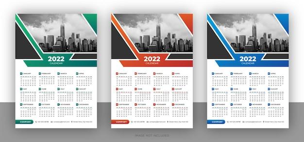 Kolorowy szablon projektu kalendarza ściennego firmy