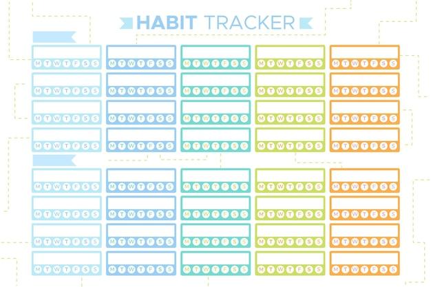 Kolorowy szablon śledzenia nawyków