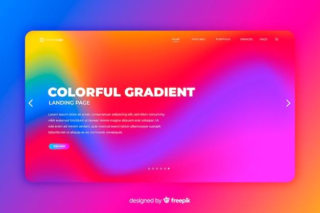 Kolorowy szablon strony docelowej gradientu