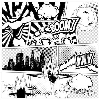 Kolorowy szablon strony komiksu z różnymi dymkami, promieniami, gwiazdami, kropkami, półtonami. sylwetka superbohatera i miasto