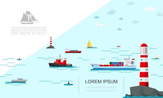 Kolorowy szablon transportu morskiego płaski