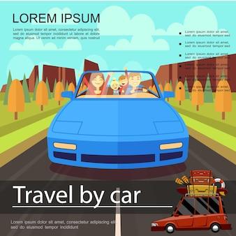 Kolorowy szablon wakacji letnich z szczęśliwą rodziną podróżującą samochodem w płaskiej ilustracji