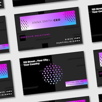 Kolorowy szablon wizytówki w stylu gradientu