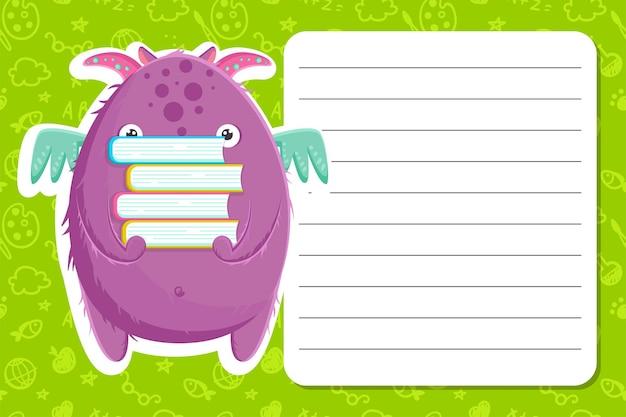 Kolorowy szablon z powrotem do szkoły z uroczym małym fioletowym potworem z książkami. ilustracja wektorowa. szablon na zielonym tle z wzorem.